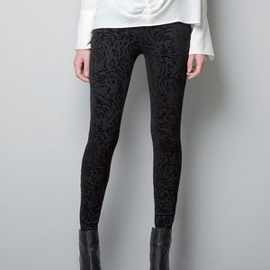 Zara Flocked Velvet Animal Print Black Leggings